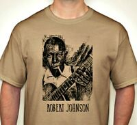 Robert Johnson Classic Hand printed t shirt Vintage Style blues Rock S-5Xlg tan