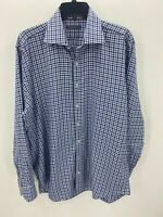 Peter Millar Blue Brown Plaid 100% Cotton Button Up Dress Shirt Mens Large