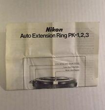 Nikon Camera Lens Auto Extension Ring PK-1, PK-2, PK-3 - Instruction Manual