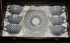 12 pc. NEW, Russian Lomonosov Design Cobalt Blue Net fine bone china tea set