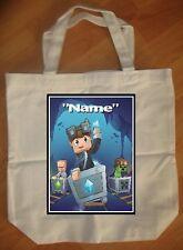"""Dan TDM Diamond Minecraft Tube Heroes"" Custom Personalized Birthday Tote Bag"