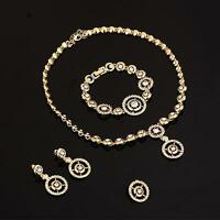 Women Bridal Rhinestone Necklace Earrings Bracelet Ring Jewelry Set New Hot GA