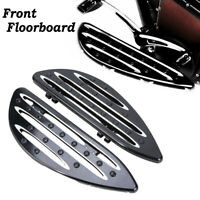 Front CNC Black Edge Cut Driver Stretched Floorboards For Harley Touring US Pair