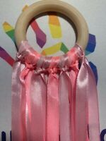 Pink Ribbons Wooden Sensory Ribbon Ring Baby Toy Baby Shower Gift 1 Meter long