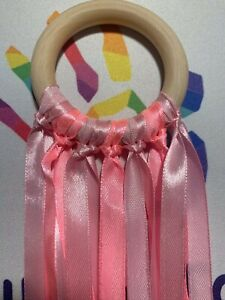 Pink Ribbons Wooden Sensory Aide 60cm Ribbon 7cm Ring New Baby Shower Gift