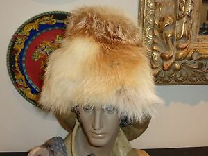 Vintage 1930 Real Fur with Gold & Brown Accents Russian Winter Snow Ski Hat