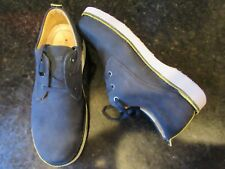 MENS SAMUEL HUBBARD NAVY Suede Gray Sole  8 1/2 M HUBBARD FREE Lace Up Excellent