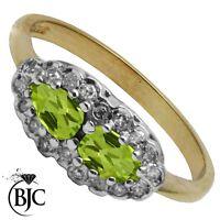 BJC 9 ct Oro amarillo Peridoto & Diamante Tamaño L compromiso anillo de vestir