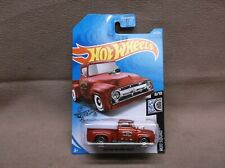 HOT WHEELS RED 2019 #227 CUSTOM 56 FORD TRUCK HOT ROD PICK UP SHOP TRUCK OUTLAW