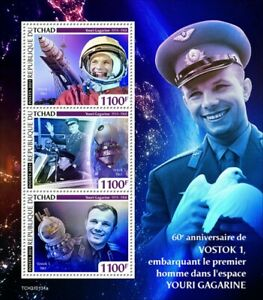 Chad 2021 MNH First Man in Space Stamps Yuri Gagarin Vostok 1 3v M/S