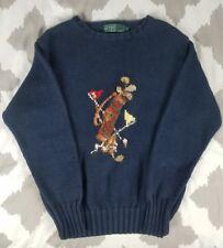 Ralph Lauren Polo Vintage 90s Golf Bag Hand Knit Sweater Bear Womens sz M 93
