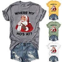 Women Santa Claws Print Tunic Tops Short Sleeve O-Neck T-Shirt Blouse Xmas US