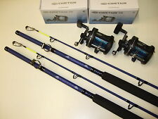 2 x New 50lb Class, 7ft, Sea Boat Fishing Rods + Reels + Line
