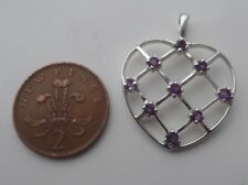 February Birthstone Stylish Sterling Silver and Amethyst Heart Pendant