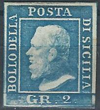 1859 Sicilia 2 grana azzurro chiaro 1v. T.L (MH) Cat Sass 8 € 350,00