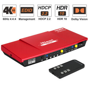 TESmart 4 Port HDMI Switch Switcher Support 4 input 1 output 4K@60Hz HDCP HDR