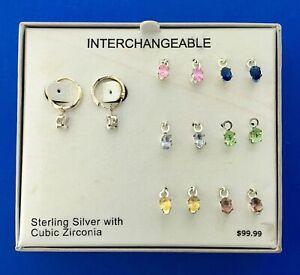 Multicolor Hoop Silver Earrings Cubic Zirconia Gemstone 1/'/' 2.5 cm 14K Rose Gold Plated