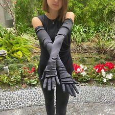 CHANEL Black Silk Long Opera Style Cocktail Gloves Black Crystal CC Logo