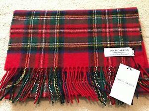 Locharron Scottish Lambswool Scarf Royal Stewart Tartan Double Scarf Large Red