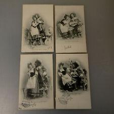 4 Fotopostkarten Serie Liebe Romantik 1902 gelaufen (55251)