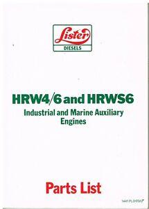 LISTER HRW4 HRW6 HRWS6 IND & MARINE DIESEL ENGINE FACTORY ILLUSTRATED PARTS LIST