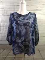 Dress Barn Women's Size Small Blue Paisley Sheer Top Shirt Blouse