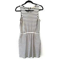 Ann Taylor LOFT Womens Nautical Striped Dress Beach Casual Sleeveless Cotton M
