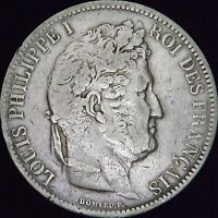1831-A Raised Edge Lettering VG France Silver 5 Francs - KM# 745.1 - CC