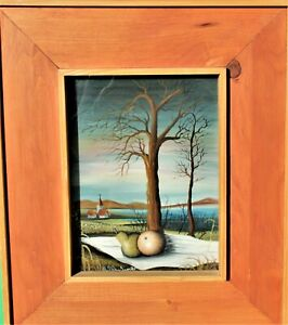 Original M. S. Gaulina. Hinterglasbild, Landschaft mit Birnen, 1975, signiert