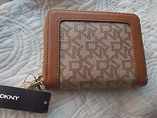 NWT DKNY LOGO WALLET ORGANIZER ZIP AROUND KHAKI TAN GOLD TONE HARDWARE
