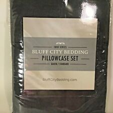 "NEW 2-Piece 1800CT Bluff City Bedding Gray Pillow Case Set Queen/Standard20""x30"""