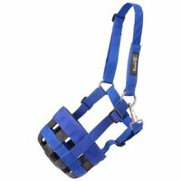 Tough-1 Yearling Size Blue Poly Nylon Grazing Muzzle Horse Tack Equine