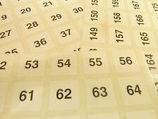 Bianco 20mm 2cm Quadrato Consecutivo Sequenziale Numero Etichette Numeri Adesivi