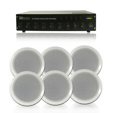 More details for 6x bosch ceiling speakers + 100v line amp 60w + cables