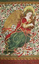 Navidad Florecer Ángel Santa Música Cielo - Robert Kaufman Tela de Algodón Panel