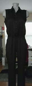 Ann Taylor 4P Jumpsuit color black button up on front sleeveless