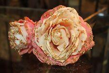 Katherine's Collection oro rosa Rose flor floración con glitter & perlas 51cm nuevo