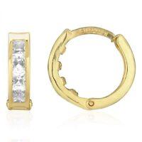 14k Yellow Gold 3.5mm Princess Cut Channel Set Hoop Earrings