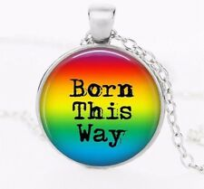 Pride LGBT Born This Way Crystal Glass Pendant Necklace Jewelry GAY - Silver