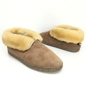 RJs Fuzzies Mens Chestnut Round Toe Sheepskin Soft Sole Bootie Slipper Size 10