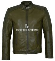 Men's 1829-B Olive Green Biker Style Soft Padded Real Lambskin Leather Jacket