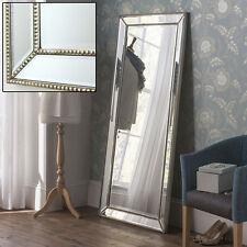 "Hartland Champagne Silver Full Length Leaner Wall Lawson Beaded Mirror 66"" X 30"""