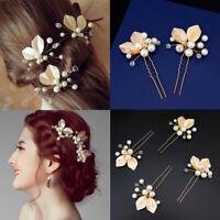 Bridal Hair Accessories Hair Jewelry Pearl Leaf Hair Clips Crystal Hairpins