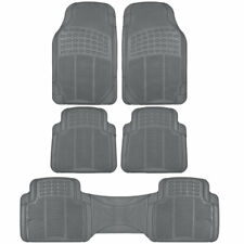 3 Row Heavy Duty Rubber Floor Mats for Car SUV Van Trimmable Gray 5 Piece Set