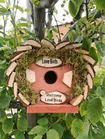 ✔ 20080 BIRD HOTEL HOUSE HANGING WOODEN NESTING BOX NEST STATION LOVE SMALL HOME