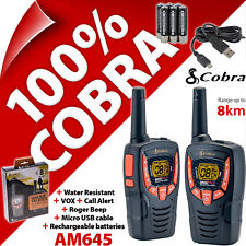 Cobra AM645 2 sens talkie walkie radios 8km rechargeable pmr 446 AM-645 twin pack