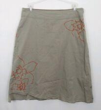 Lole Tan Floral Cotton Spandex Skirt Womens 12 Asymmetrical Hem EUC