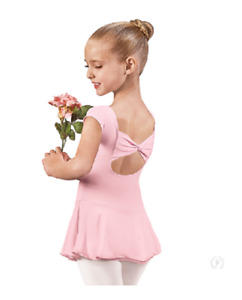 Pink Cap Sleeve Bow Back Leotard Dance Dress EUROTARD Girls Child Size NWT 44285