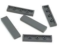 Lego Lot of 5 New Dark Bluish Gray Tiles 1 x 4 Dot Flat Smooth Pieces Parts