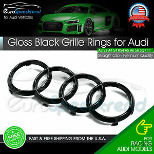 Audi Rings Front Grille Hood Emblem Gloss Black Badge A1 A3 A4 S4 A5 S5 A6 S6 TT